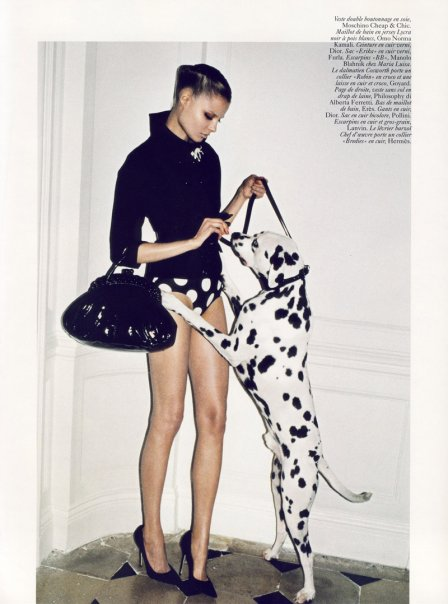Magda and one of the many playful pooches making their Vogue debut. (Fashiongonerogue.com)
